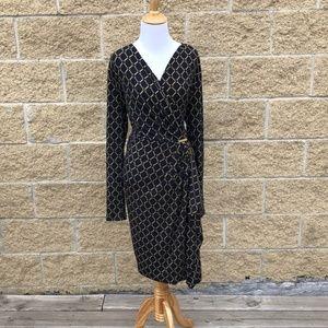 Michael Kors Navy&Gold Diamond Cinched Waist Dress